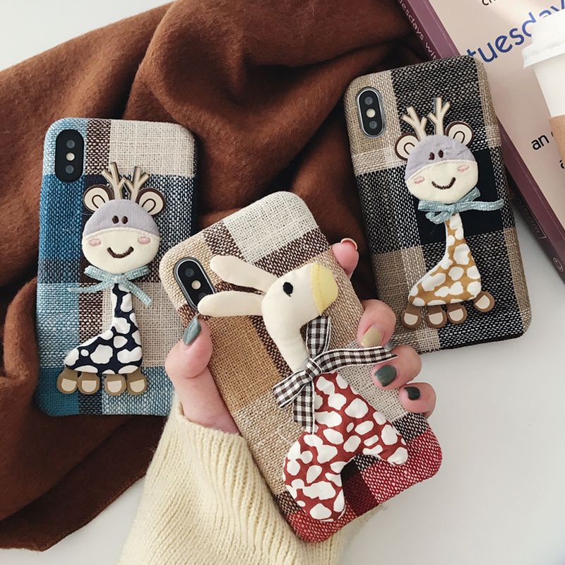Autumn Warm Cloth Fabric deer Plush Phone Case Simple Plaid Soft Tpu Case for Iphone 7 7plus 6 6s 8 plus X XS MAX XR Back Cover