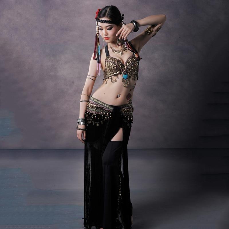 Tribal Style Belly Dance Costume 2 Pics Bra Skirt Women Top Hip Scarf 34b c 36b