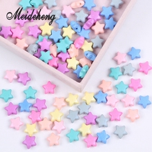 12mm 100PCs Hot Sale Spray Paint Star shaped Acrylic Flat beads accessories for Needlework Bracelet Gift Friends Baby Toys
