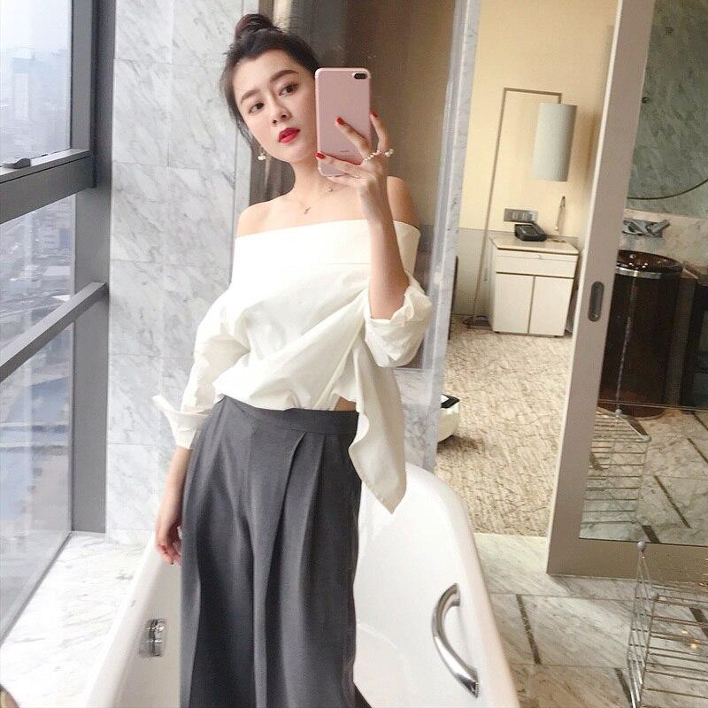 CHICEVER 2018 été Sexy Whiet Blouse chemise haut pour femme Slash cou manches chauve-souris dos fendu dames Blouses mode coréenne marée - 2