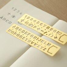 Винтажная латунная Закладка-линейка, многофункциональная линейка для рисования, цифры, буквы, вырезанная линейка, медная линейка