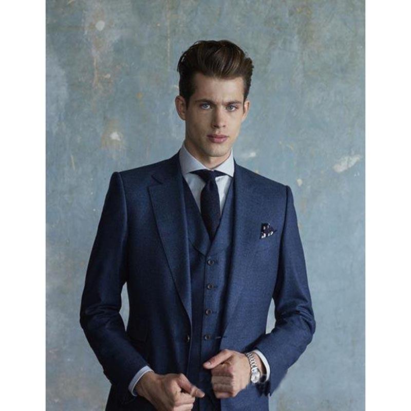 2017 British Navy Blue groom mens wedding suits for men Dress Notch Lapel Three Pockets 3 Pieces men suit (Jacket+Pants+Vest)