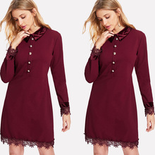 Red Office Dresses Women New Arrivals Fashion Long Sleeve Elegant Dress Ladies Casual Work Dress Lace with White Collar цена