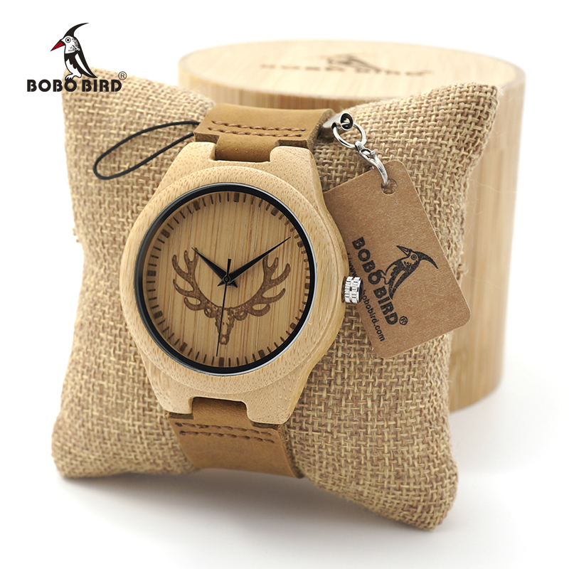 BOBO BIRD Wooden Watch Ladies Engrave Deer Head Bamboo Dial Quartz Watch with Genuine Leather Band as Gift relojes mujer азбука 978 5 389 02620 9
