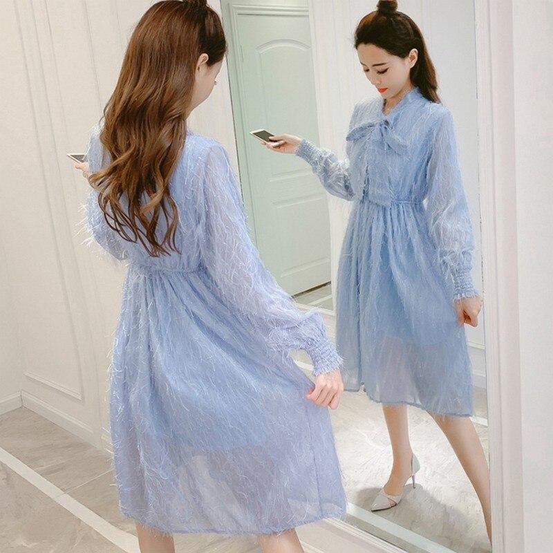 Été Caractère Femmes Version Mince Sexy Printemps À Bleu Coréenne Robes Longues Dentelle blanc De 2019 Manches Gland Mode Femme Robe lK15uFJ3Tc