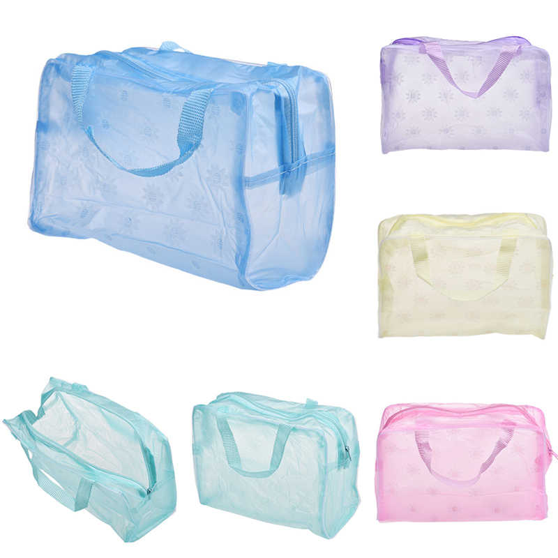 1PC Hot Women Cosmetic Bags Travel Waterproof Makeup Bag Transpatence Washcloth Solid Color PVC