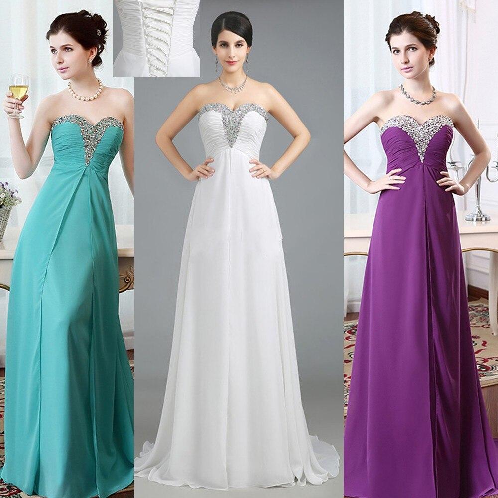 Prêt à expédier Sexy blanc longues robes de bal 2014 chérie perlée en mousseline de soie violet Occasion spéciale robe étage longueur robe de soirée