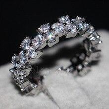 Vecalon Classique Femmes Bijoux Full ring 5ct Topaze Cz diamant 925 Sterling Argent Engagement Band anneau de mariage pour les femmes Cadeau