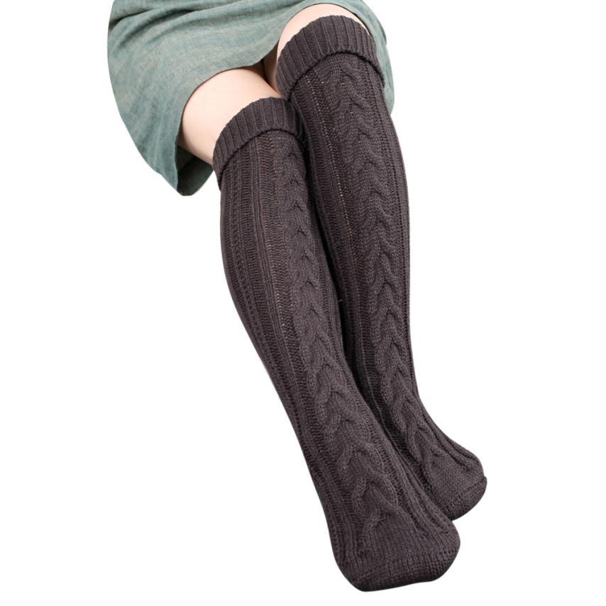 Amazing Women Step Foot Knit Woolen Yarn Over Knee Stocking High Turn Up Rib Winter Boot