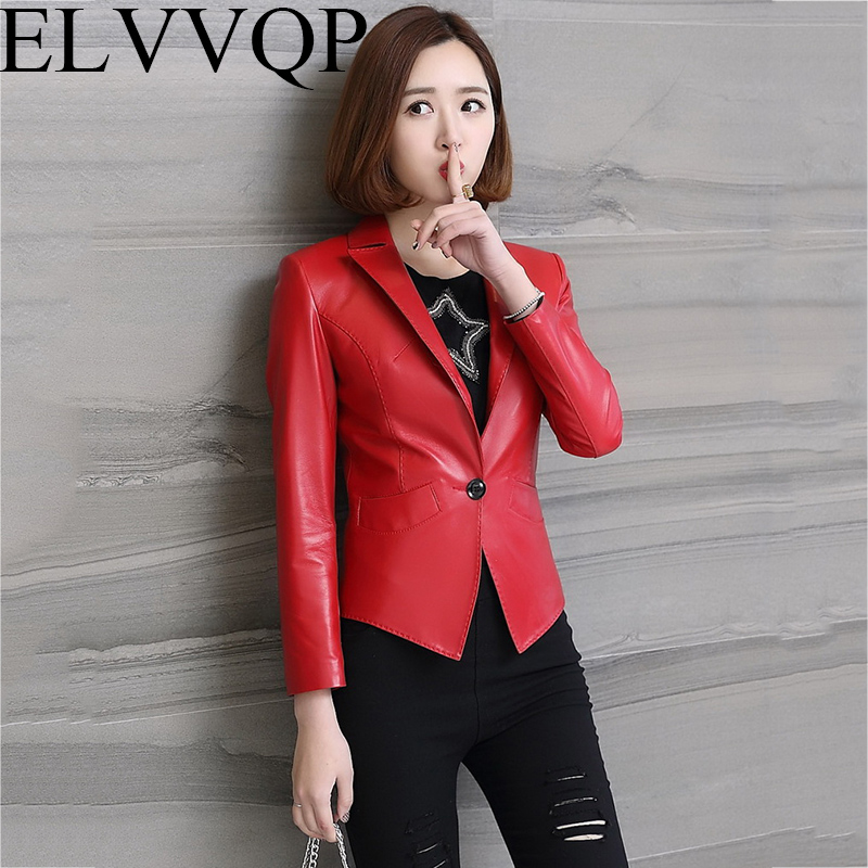 Women's Leather Jacket Spring and Autumn Short Splice Motorcycle Leather Jacket Woman Red and black coat plus size S 4XL LF224
