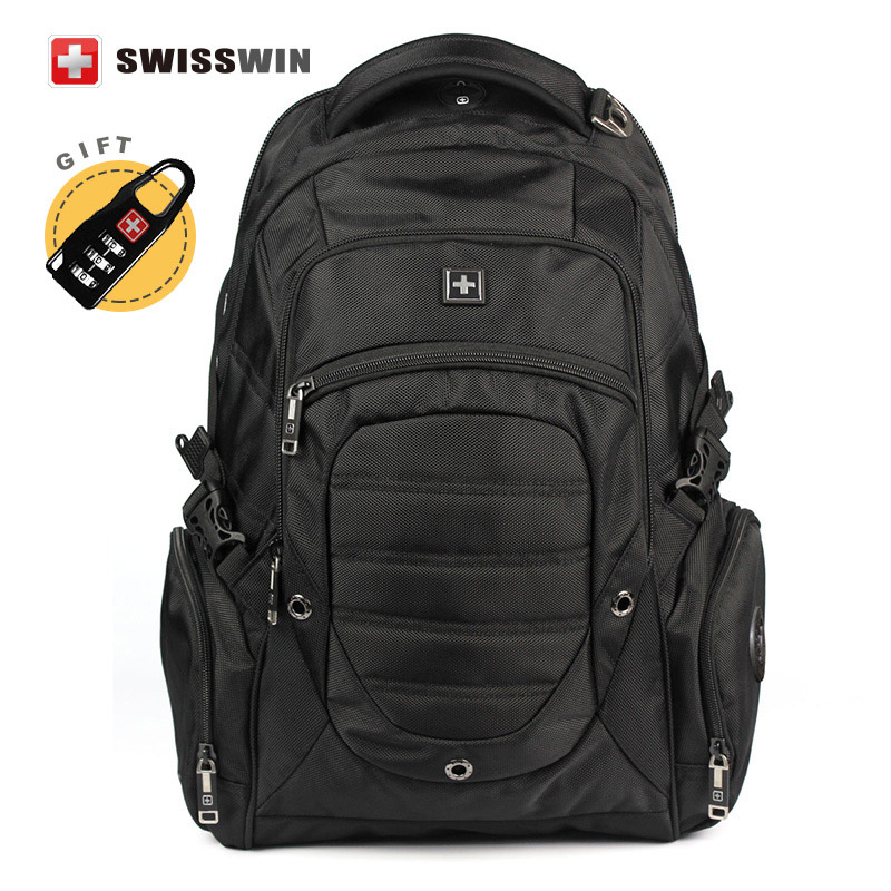 Swisswin Brand Men's Black Backpack Wenger Swissgear Big Travel Backpack Waterproof Men Bagpack 15.6 Laptop Mochila Escolar