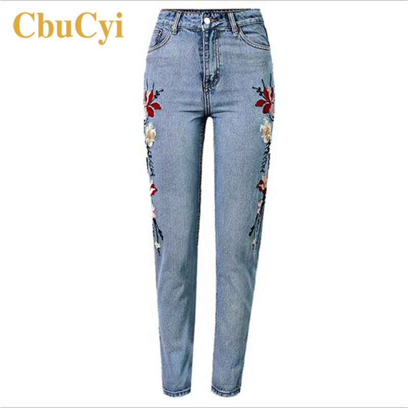 Women Cotton Denim Pants High Waisted Jeans Embroidery Straight Washed Vintage Pants Female Loose Casual Denim Jeans Trousers