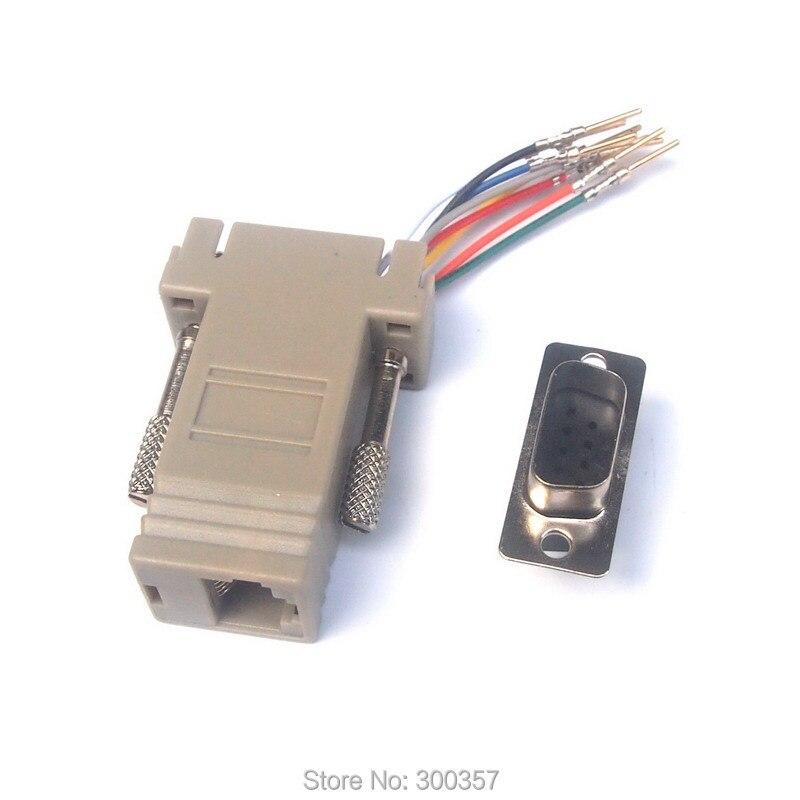 20 Lot DB9 Male RJ45 Modular Adapter Serial Extender