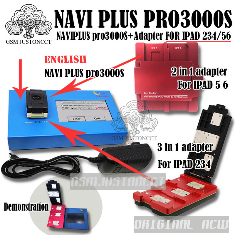 DHL a ipbox NAVIPLUS pro3000s/navi plus 3000 chip programador 32bit + 64BIT 2IN1 para ipad 2 3 4 5 6 bypass de la cuenta de icloud
