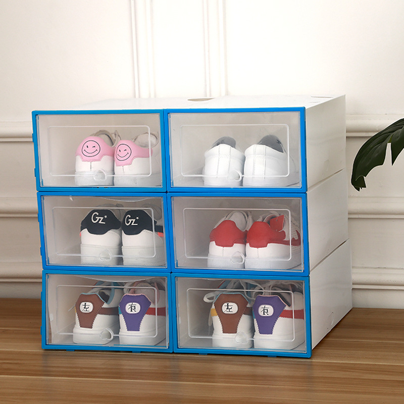 6pcs Foldable Plastic Shoe Boxes Universal Home Organizer Stackable Storage Drawer Transparent Home Holding Box-in Storage Boxes & Bins from Home & Garden