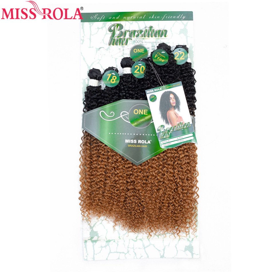 Miss Rola Ombre Hair Bundles Synthetic Kinky Curly Hair Extensions Hair Weaves 18-22 6pcs/Pack 200g With Free Closure