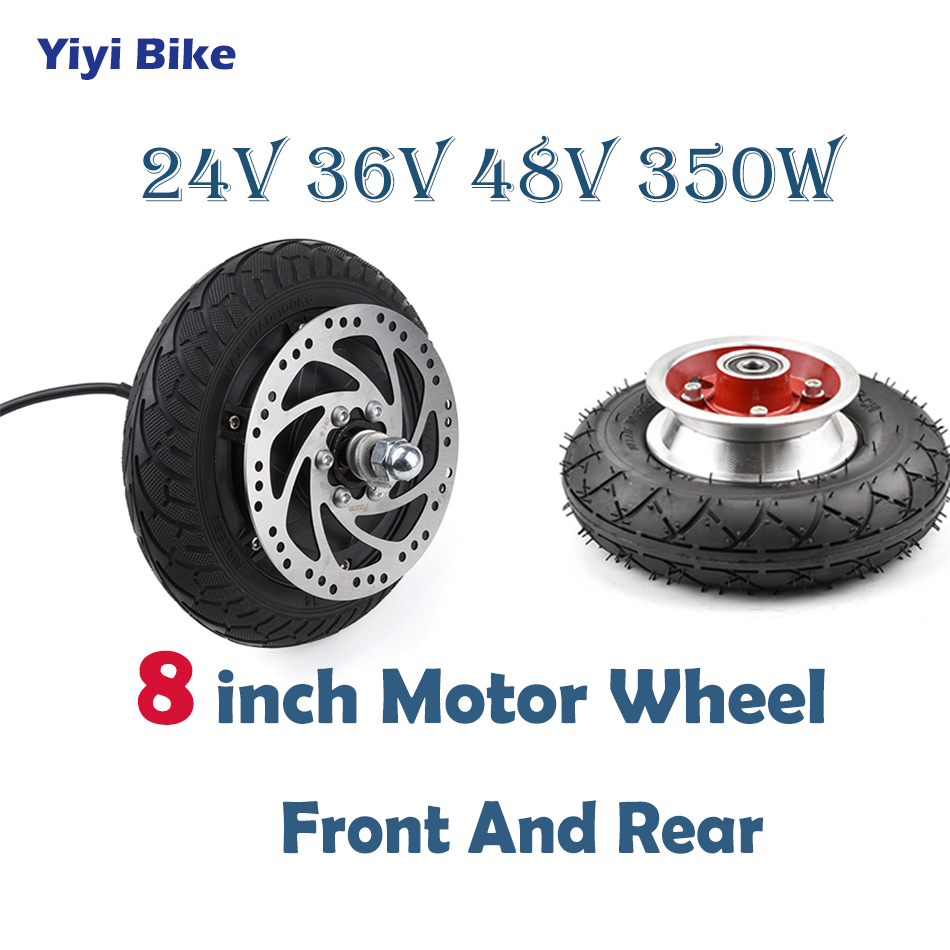 24V 36V 48V 350W 8 inch DC Motor Electric Scooter Brushless Motor Rear Front Wheel Motor E Scooter Wheel Bicycle Motor Wheel