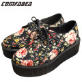 Women Platform Shoes Plus Size 35~42 2017 Vintage Womens Flat Platform Flower Fashion Creepers Goth Punk Shoes For Women