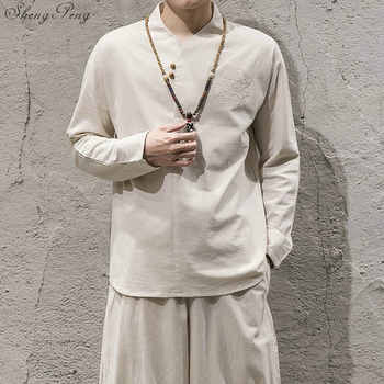 2018 new arrival linen suits men dress suits Chinese traditional men clothing solid color long sleeves mens dress suits Q587