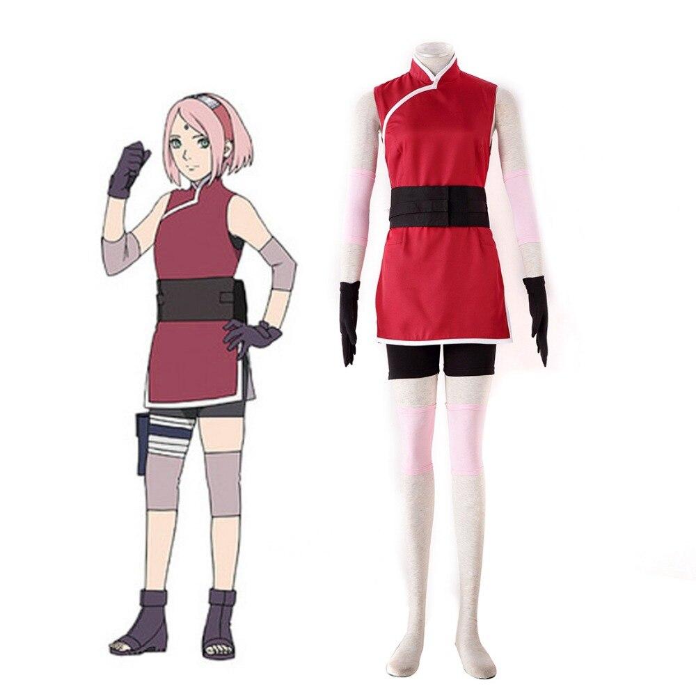 Hot Anime Movie Naruto THE LAST Sakura Uchiha Cosplay Costume Sakura Haruno Ninja Costume Red Cheongsam Cosplay Suit naruto sakura haruno cosplay boots shoes mp001015
