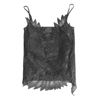 KoHuiJoo Summer Women Embroidery Tank Top V Neck Feather Fashion Tops Black White Rose Pink Sexy