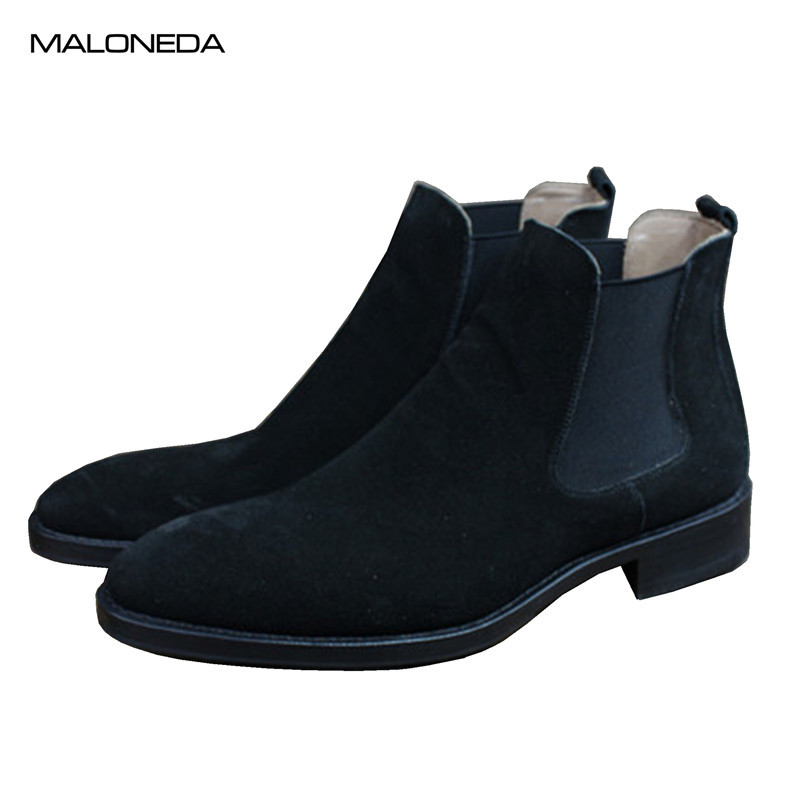 MALONEDE Bespoke High-quality Handmade Goodyear Ankle Chelsea Boots Slip on Genuine Cow Suede Leather for Male Casual Footwear
