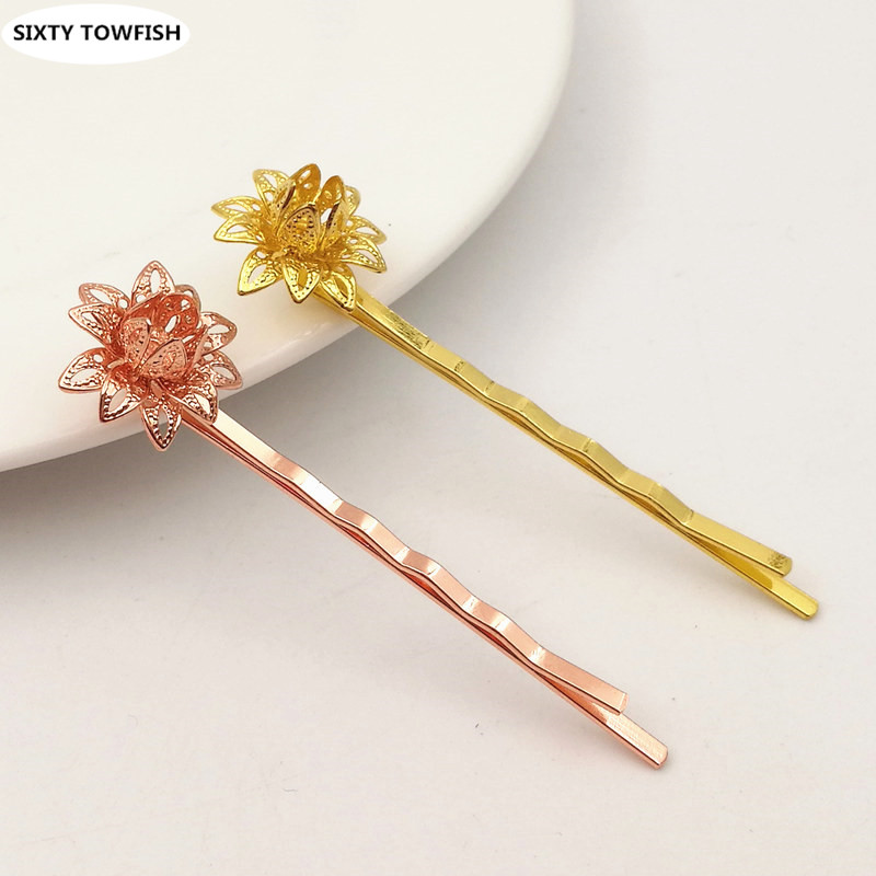 20pcs/lot HairPin Length 55mm Flower Size 20*25mm Copper Hairwear 6 Colors Fashion Hair Jewelry Barrettes