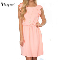 TANGNEST Cute Slim Women Dresses 2017 Summer European Solid Color Sleeveless O Neck Ruffles Mini Dress