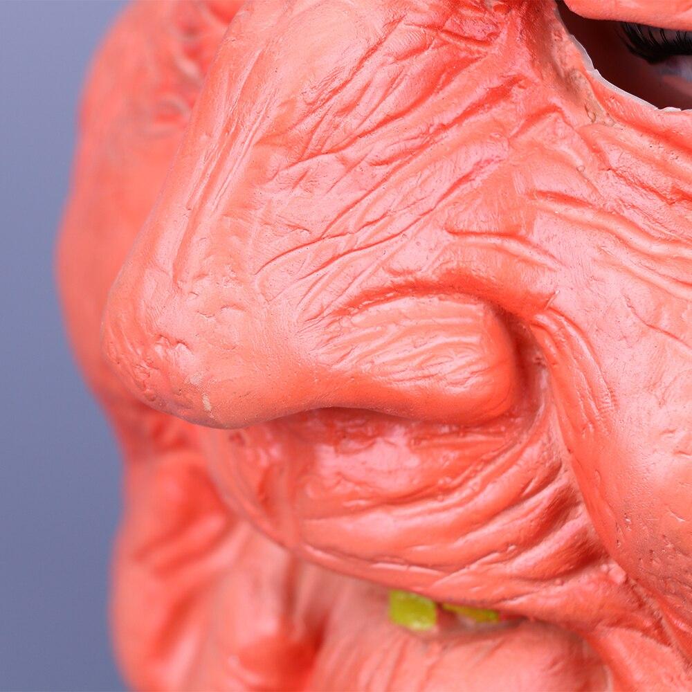 Creepy Old Man Mask With Hair Masquerade Old Man Mask Halloween Mask Props New (10)
