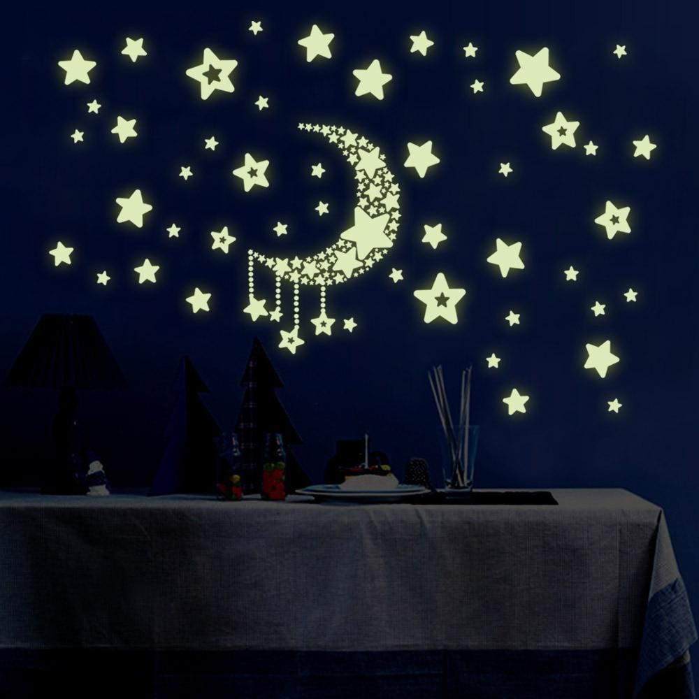 Luminous Star & Moon Glow in the Dark Wall Fluorescent Stickers