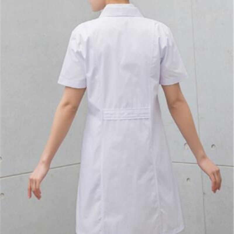 4200c09290e3 ... Lady White Short Sleeve Lab Coat Cotton Doctors Scientist Women Nurse  Uniform Dress Costume Medical Clothing ...