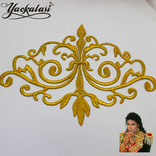 YACKALASI 3D Gold Appliqued Trophy Embroidered Cosplay Costume Iron-On Patches Gold Silver Metallic Venise Trims Ivory 16cm*12cm(China (Mainland))