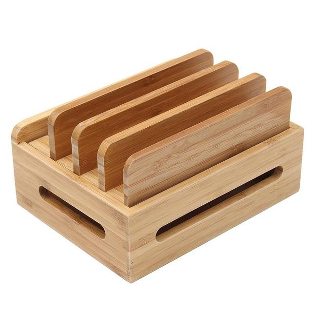 Multi Device Cords Organizer Stand Charging Station Bamboo Multifunction Mobile Phone Holder For iPhone For Smart Phone/Tablet