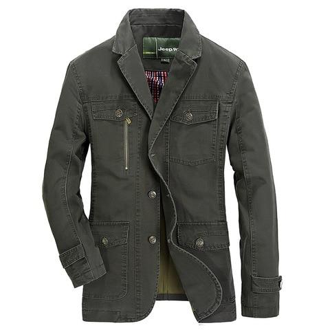 Plus Size 5XL Military Style Men Blazer Spring Autumn Cotton Casual Blazer Masculino Multi-pocket Mens Suit Jacket Blazers homme Lahore