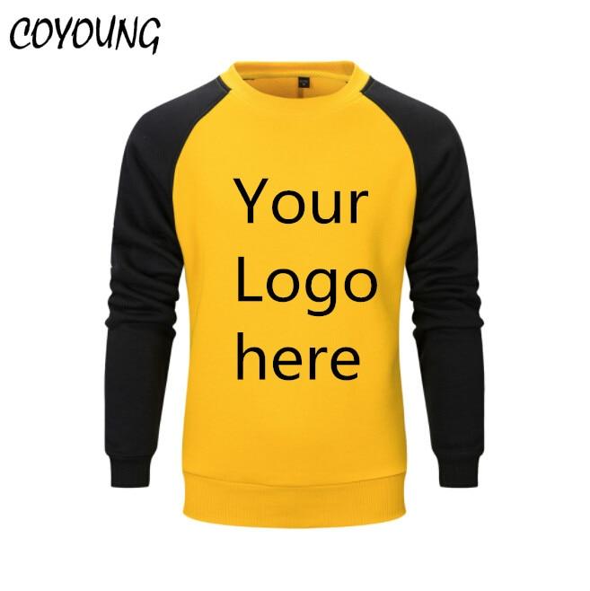 US Size Sweatshirts Men Warm Pullover Streetwear Customized LOGO Printed Design DIY Striped Round Collar Fleece Hoodies