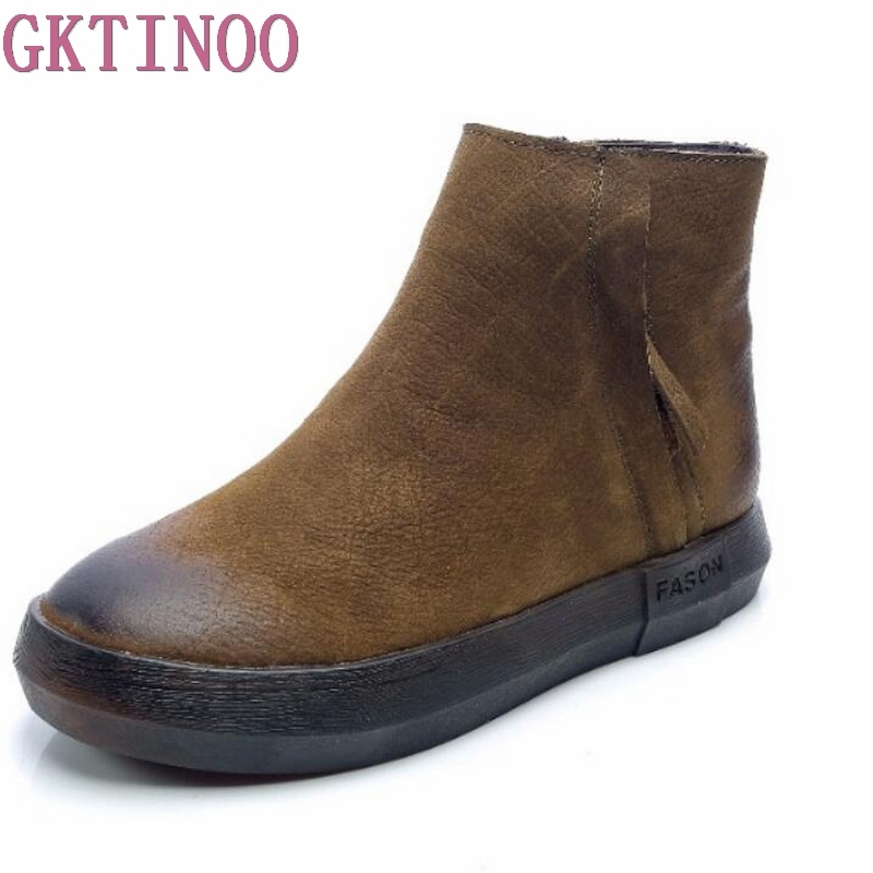 GKTINOO Autumn Winter Martin Boots Genuine Leather Ankle Boots Women Comfortable Soft Bottom Flat Shoes Women Boots Lady 2017 autumn and winter new plus velvet thick women s boots soft bottom comfortable breathable mother shoes wild leather