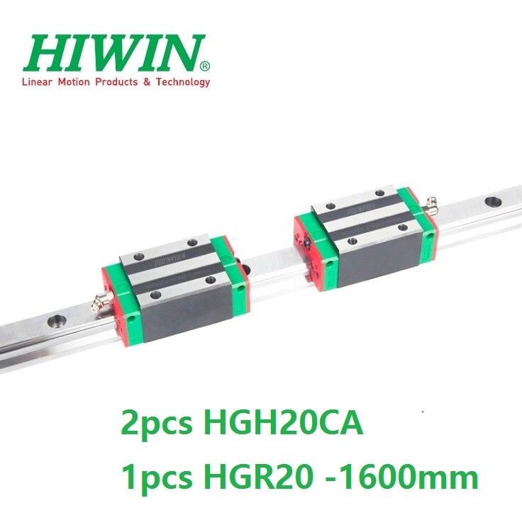 1pcs 100% original Hiwin linear rail guide HGR20 -L 1600mm + 2pcs HGH20CA linear square block for cnc 1pcs hiwin hgr20 linear guide rail 2000 mm 2pcs hgh20ca for custom length cnc kit