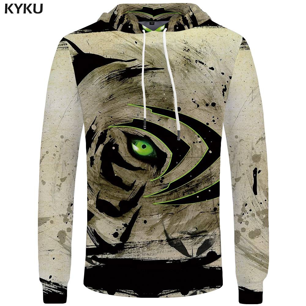 KYKU Brand Tiger Hoodies Men Eye Sweatshirt China Pocket Animal Sweatshirts Big Size Mens Clothing Hoddie Hooded Hip Hop