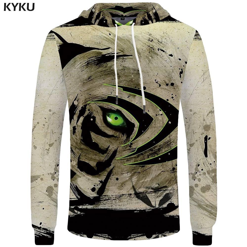 KYKU Brand Tiger Hoodies Men Eye Sweatshirt China Pocket Animal Sweatshirts Big Size Mens Clothing Hoddie Hooded Hip Hop