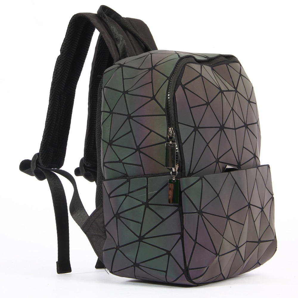 KAISIBO Geometric Diamond Lattice Backpack Luminous Travel Men Women Backpacks PVC Laser Shoulder Bag Mochilas