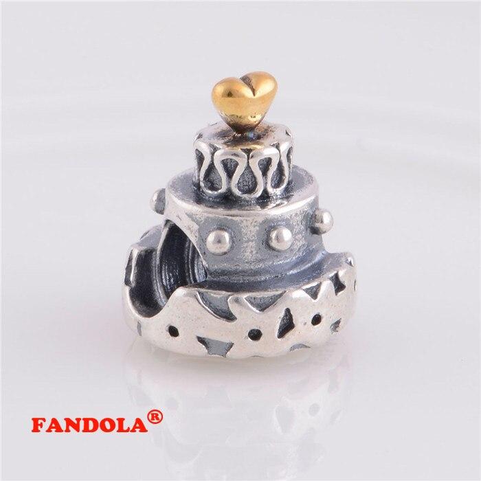S'adapte à Pandora bracelet à breloques 925 perles en argent Sterling anniversaire gâteau vis trou charme femmes bijoux à bricoler soi-même faisant LW326K