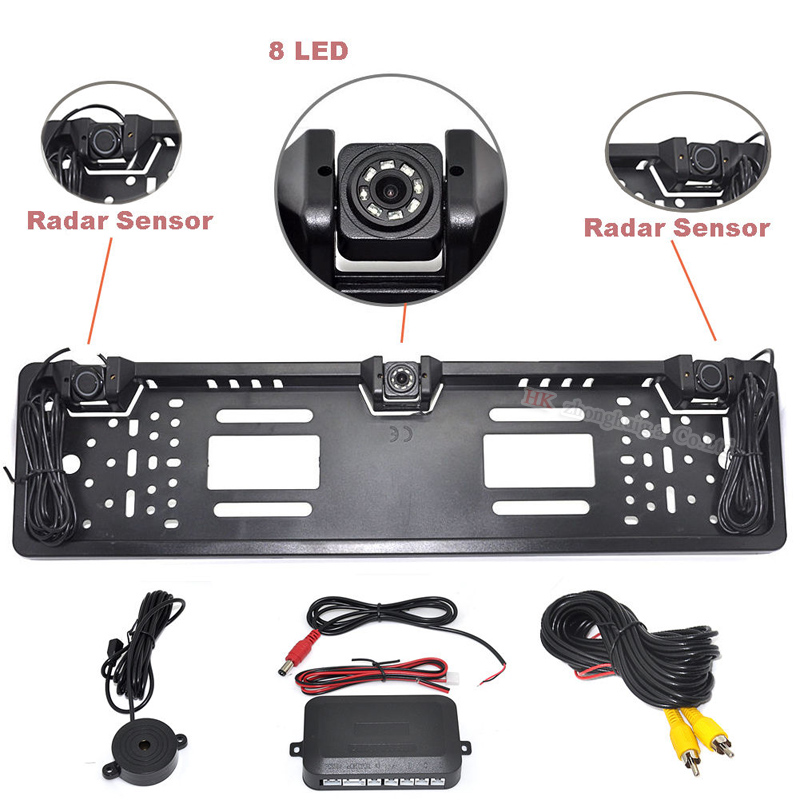 YYZSDYJQ EU European Car License CCD Rear View Camera Plate Frame Parking Camera Two Reversing Radar