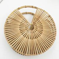 Round Portable Bamboo Bag Outdoor bag Casual Beach Eco Shopping Bag Daily Use Tote for Women