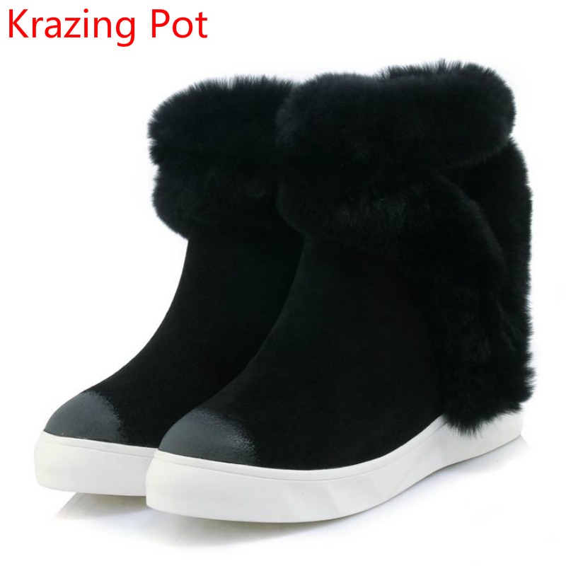 2018 Fashion Genuine Leather Increased Keep Warm Mixed Color Winter Boots Platform Round Toe Handmade Women Mid-Calf Boots L0f1 new arrival 2016 winter keep warm women boots low heel round toe platform shoes solid genuine leather mid calf boots