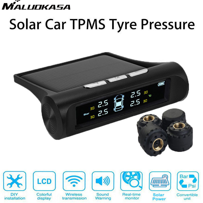 MALUOKASA Car Solar Power TPMS Wireless Tire Pressure Monitoring System Sensor Car Tyre Pressure Alarm System With LCD Display idoing special tpms newest technology car tire diagnostic tool with mini inner sensor auto support bar and psi