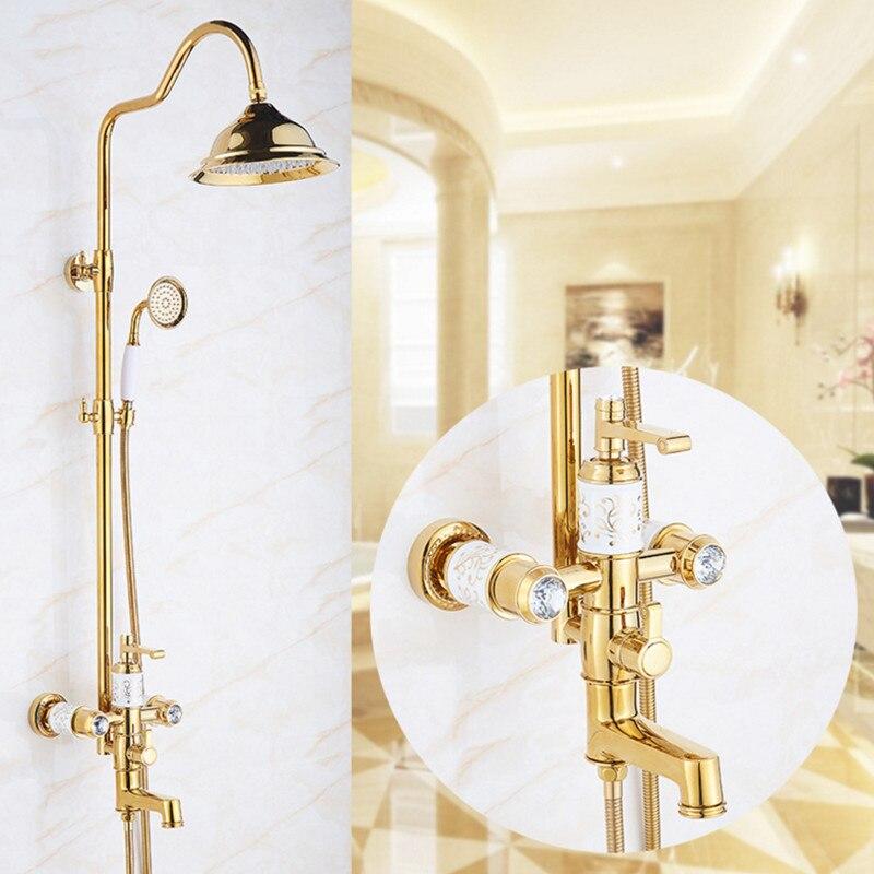 Européenne de luxe en céramique or salle de bains kit de douche avec qualité en laiton noir bowlder douche robinet de inwall rose or de bain douche