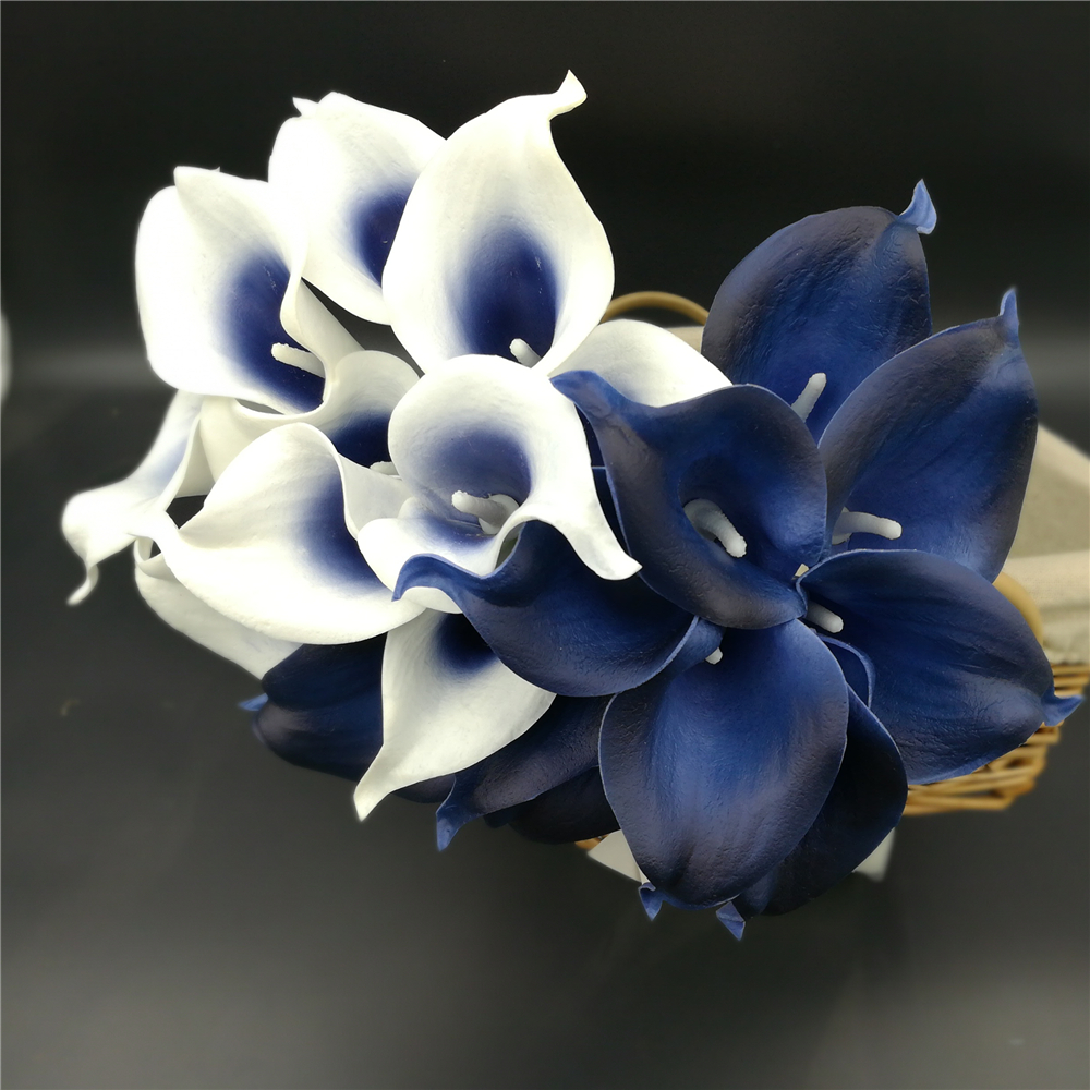 Average Cost Of Wedding Flowers 2014: Navy Blue Picasso Calla Lilies Real Touch Flowers For