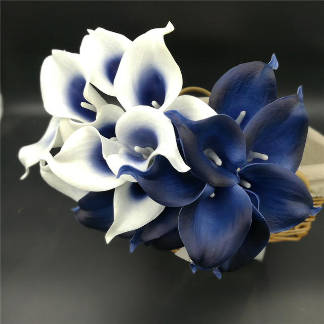 Navy Blue Picasso Calla Lilies Real Touch Flowers For Wedding Bouquets Centerpieces