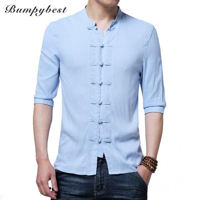 e90a7706b5 Camisas de lino para hombre media manga estilo chino mandarín Collar  tradicional Kung Fu Tang Casual