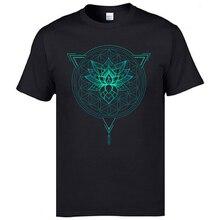 Geometric Mandala Lotus Flower Classic Tshirt Mens Summer Tops Tees Cotton Fabric Great T Shirt OM T-Shirts Black Shirts Fashion